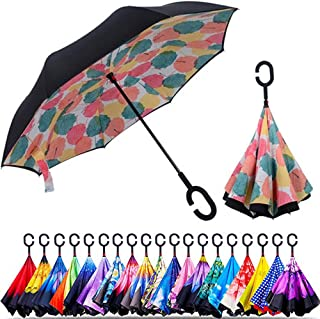 Unisex Inverted Inside Out Umbrella - Material Composition of Pongee Fabrics, Black Electric Ribs & Stainless Steel - Ligh...