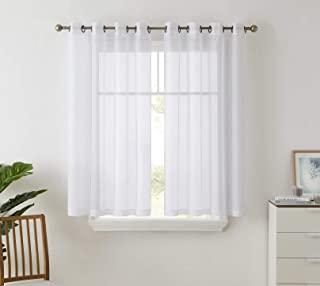 HLC.ME 2 Piece Semi Sheer Curtains Window Treatment Grommet Voile Panels for Living Room, Bedroom, Kids Room (54
