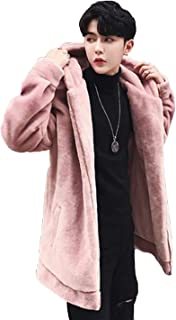 (ニカ) ラシャコート 冬 厚手 メンズ ロングコート 無地 アウター 韓国風 暖かい カッコイイ オーバーコート スリム ふわふわ もこもこ