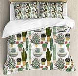 ABAKUHAUS Kaktus Funda Nórdica, Las suculentas Macetas, Estampado Lavable, 3 Piezas con 2 Fundas de Almohada, 230 cm x 220 cm, Multicolor