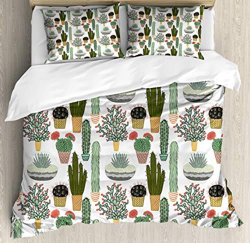 ABAKUHAUS Cactus Dekbedovertrekset, Vetplanten Bloempotten, Decoratieve 3-delige Bedset met 2 Sierslopen, 230 cm x 220 cm, Veelkleurig