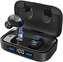 True Wireless Earbuds, Bluetooth 5.0 Headphones with 2000mAh Charging Case LED Battery Display, TWS Stereo Noise Canceling IPX7 Waterproof in-Ear Built-in Mic Earphones, Deep Bass Headset for Sports