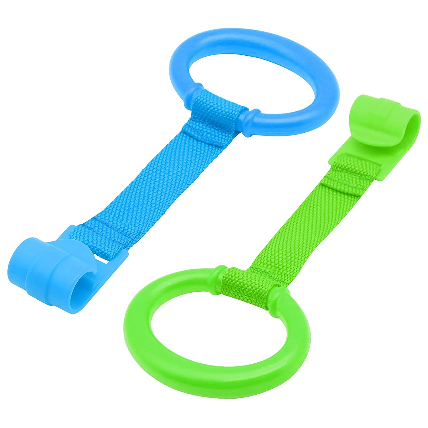 KALAMANDA 2 Pack Baby Crib Pull Ring, Playpen Pull Up Ring, Safety Stand up Ring, Walking Assistant Infant Toddler Kids Children Walking Training Tool(Blue and Green)