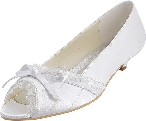 ZHRUI GYMZ683 damenes Peep Toe Satin Fiesta de Noche Baile Nupcial schuhe de Boda Bombas Sandalias Flatfs (Farbe   Weiß-3cm Heel, tamaño   3 UK)