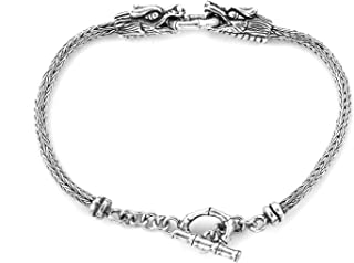 Toggle Clasp Dragon Bracelet 925 Sterling Silver Boho Handmade Jewelry for Women Gift Size 7.5