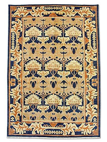 Pak Persian Rugs Handgeknüpfter Ushak Teppich, Preußischblau, Wolle, Medium, 181 X 264 cm