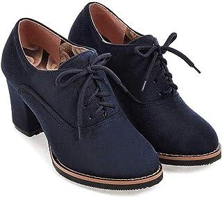 حذاء نسائي برقبة طويلة وكعب سميك مربع مكتنز برباط من Lowprofile