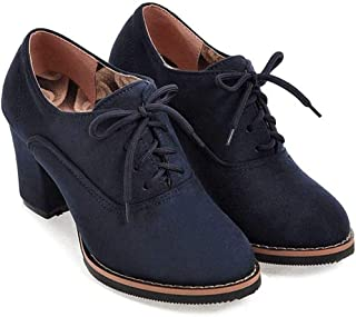 Women Ankle Booties Lace up High Thick Square Chunky Heel Boots Round Toe Shoes by Lowprofile