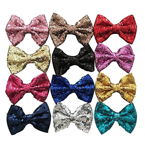 Yazon 5inch Sequin Fabric Bows Hair Clips Baby Sequin Hair Bows Girl's Hair...
