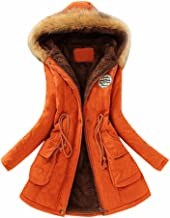 JESPER Womens Warm Long Coat Fur Collar Hooded Jacket Slim Winter Thickened Parka Outwear Coats