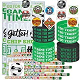 Soccer Party Favors for 24 - Soccer Pencils (24), Soccer Wrist Bands (24), Soccer Tattoos (72), Soccer Theme Gift Bags (24) and Happy Birthday Sticker (Total 145 Pieces) (Green/White Bag)