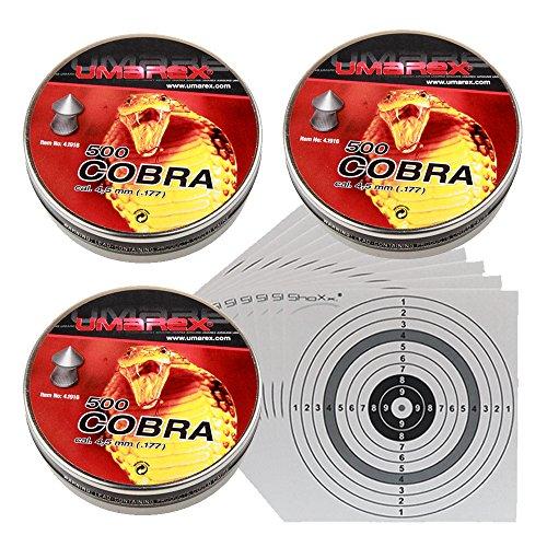 shoot-club 1.500 UMAREX Cobra Spitzkopf-Jagddiabolos Kaliber 4,5 mm/geriffelt 4.1916 + 25 ShoXx Zielscheiben 14x14 cm mit zusätzlichen grauen Ring und 250 g/m²