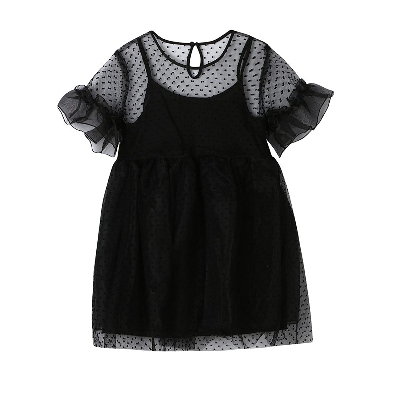 SSZZoo Infant Kid Girls Net Yarn Tutu Solid Wave Point Ruffle Sleeve Casual Princess Dress Clothes
