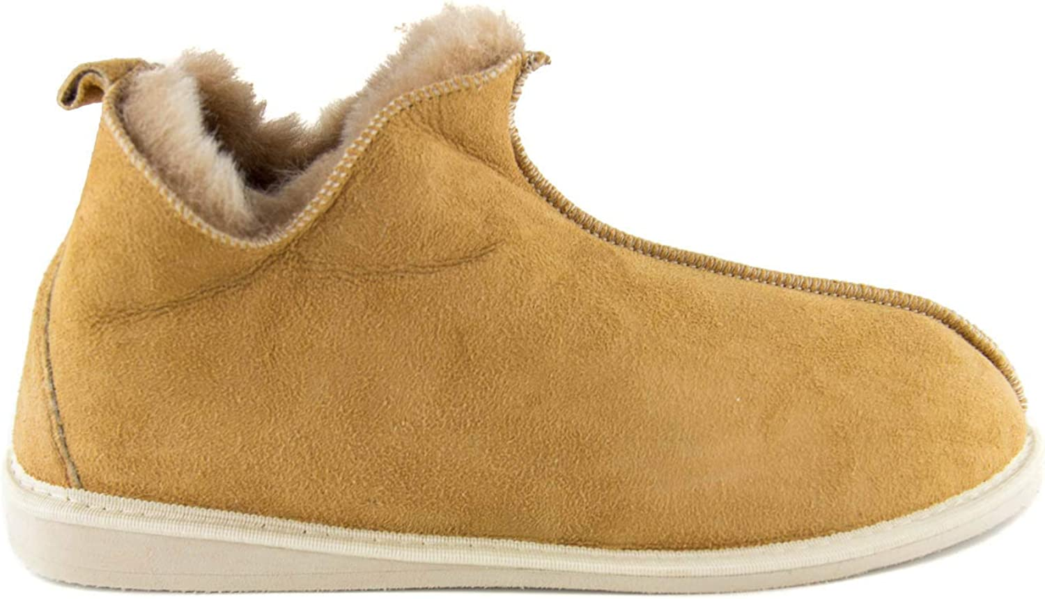 Yeti & Sons Hand Crafted Luxury Men's 100% Sheepskin Lined Ankle Boot Hardsole Slippers (7 UK, Chestnut)
