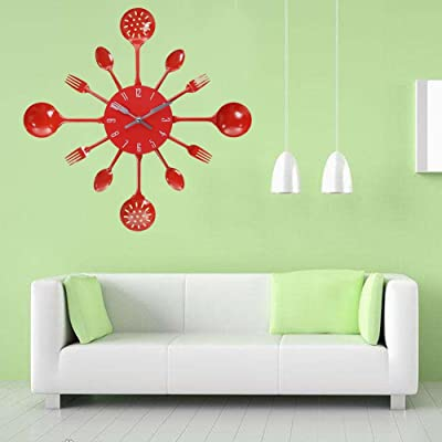 ttnight Colour Wall Clock Kitchen Wall Clock Colour Clocks, Spoon Fork Pattern