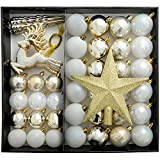 WeRChristmas Shatterproof Luxury Christmas Tree Baubles, 50-Piece - Gold/Silver/White