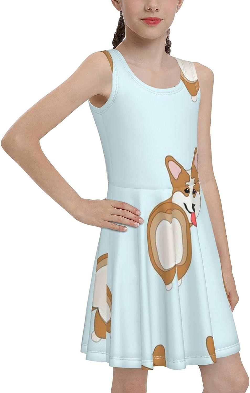 AMRANDOM Girls High Waist Summer Casual Sleeveless Dress Cute Sundress for Outdoor Sports