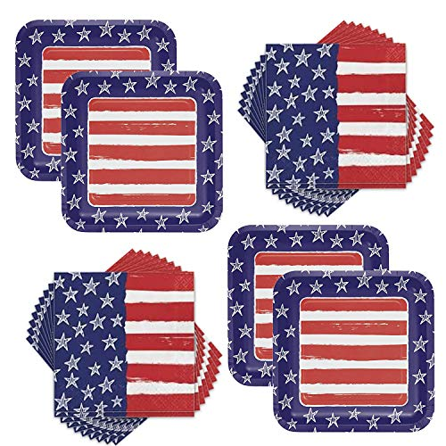 Patriotic 4th of July Stars & Stripes Festive Flag Dinner Plates & Napkins Party Supplies Bundle for 16