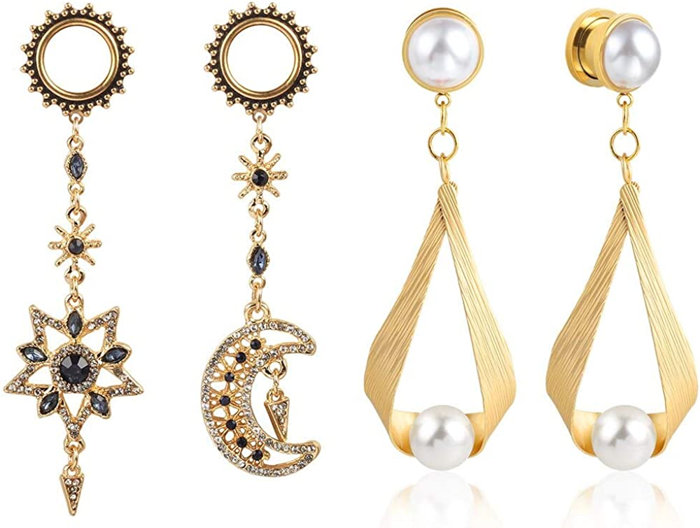2 Pairs LADEMAYH Moon and Stars Ranking TOP13 Dangle Plug B Charms Ear Denver Mall Tunnels