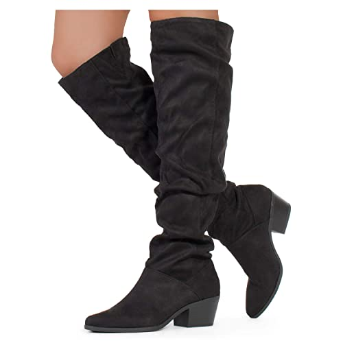 e435719aa22 RF ROOM OF FASHION Women Fashion Comfy Vegan Suede Side Zipper Over The Knee  Boots