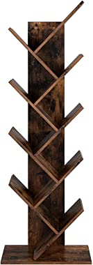 VASAGLE Tree Bookshelf, 8-Tier Floor Standing Bookcase, with Wooden Shelves for Living Room, Home Office, Rustic Brown ULBC11