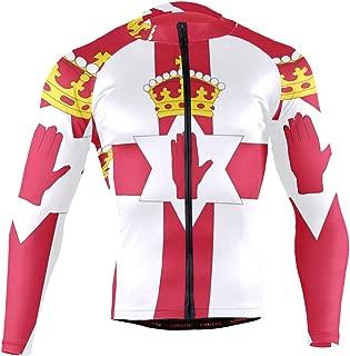 Northern Ireland Flag Men's Cycling Jersey Long Sleeve Bike Jacket Biking Bicycle Jersey Shirt