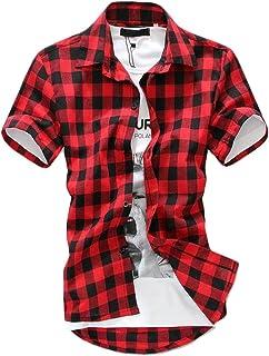 ade214e8e85 Pandapang Mens Summer Short Sleeve Casual Button Down Buffalo Plaid Shirts