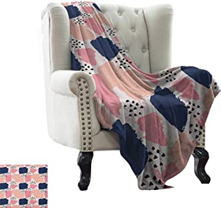 LsWOW Fluffy Blanket Navy and Blush,Hand Painted Style Brushstrokes in Pastel Colors Abstract Artistic Pattern, Multicolor Weighted for Adults Kids, Better Deeper Sleep 70