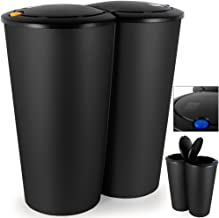 Poubelle Double Compartiment Noir - 2 x 25L - Bouton-poussoir Automatique 50x53cm