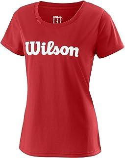 WILSON Women's Short-Sleeved Tennis T-Shirt, M Uwii Script Tech Tee, Polyester