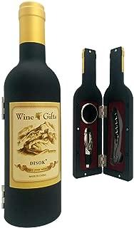 DISOK - Set Botella Vino 3 Piezas en Caja de PVC de Regalo - Set de Vino Abrebotellas, Abridores para Detalles de Bodas, Bautizos y Comuniones. Regalos Originales