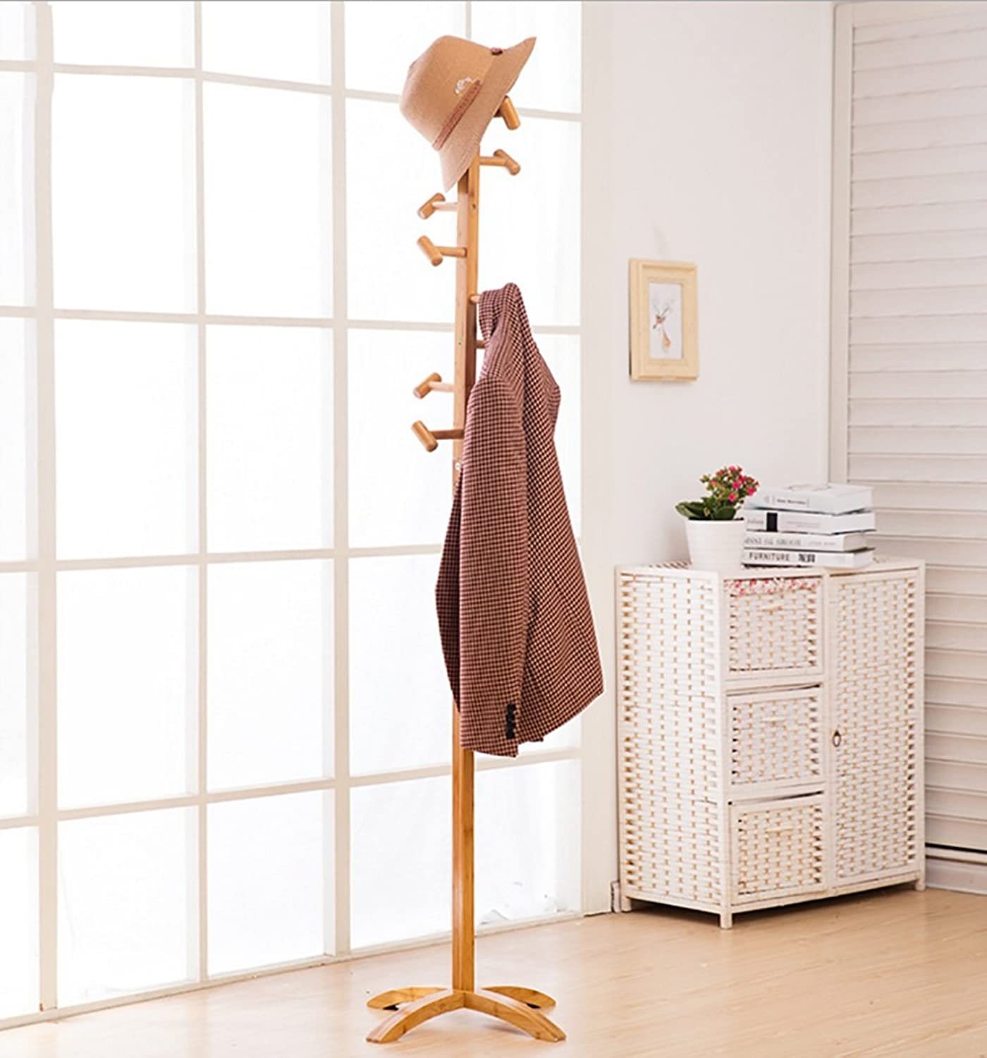 JPYMJ Wooden Coat Stand 9 Hooks Hat and Coat Rack Free Standing Tree Clothes Rail Hanging Storage Organiser for Entryway Hallway Bedroom Closet Wardrobe 175CM
