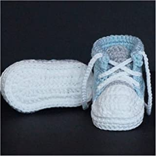 YOUPIN Handmade Baby Boys Crochet Booties Knitted Sport Shoes Soft Sole Indoor Casual Shoes Cotton (Baby Age : 0 6 Months,...