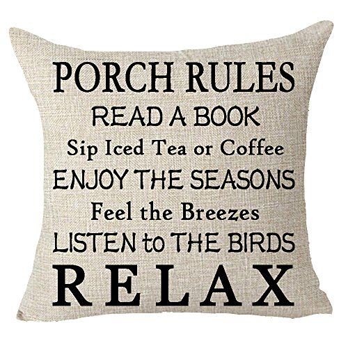 FELENIW Porch Rules Read A Book Sip Iced Tea Or Coffee Enjoy Seasons Listen to Birds Relax Throw Pillow Cover Cushion Case Cotton Linen Material Decorative 18