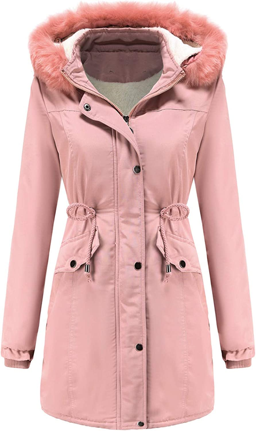 HULKAY Womens Lapel Hooded Warm Winter Coats with Faux Fur Lined Thick Outerwear Jacket with Pocket