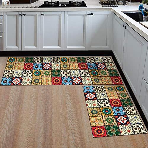 Thfff Badmat voor de keuken, Scandinavische stijl, antislip, badmat van flanel, 04,50 x 80 cm en 50 x 160 cm
