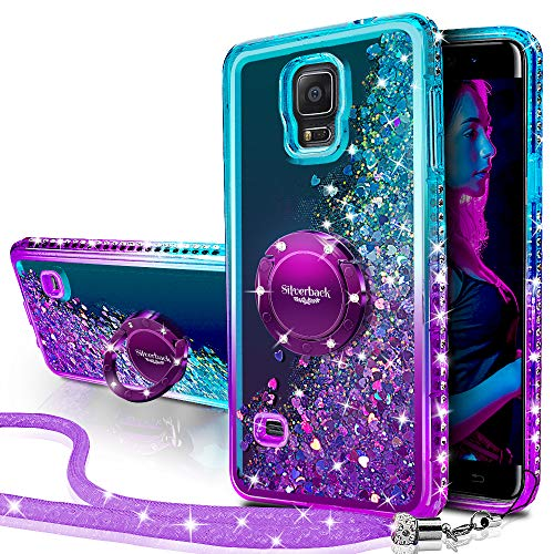 Silverback Galaxy Note 4 Case, Moving Liquid Holographic Sparkle Glitter Case with Kickstand, Bling Diamond Rhinestone Bumper W/Ring Slim Samsung Galaxy Note 4 Case for Girls Women -Purple