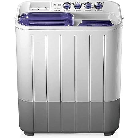 Samsung 7.2 kg Semi-Automatic Top Loading Washing Machine (WT725QPNDMPXTL, White and Blue, Center Jet Pulsator)