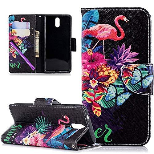 COTDINFOR Nokia 3.1 2018 Hülle süß für Geschenk Lederhülle süß Schutzhülle PU Leder Flip Bookcase Handy Tasche Magnet Etui für Nokia 3 2018 Flamingo Butterfly BF.