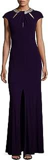 David Meister Embellished Cutout Jersey Evening Gown Dress