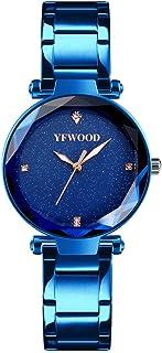 YFWOOD 腕時計 アナログ 日本製クォーツ ダイヤモンド 星空文字盤 薄型 防水 ステンレスバンド カジュアル レディース watch for women ブルー