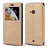 Nokia Lumia 535 Case, Wood Grain Leather Case with Card