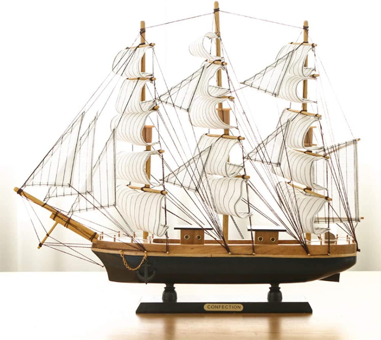 HJX888 Ornamenti per imbarcazioni in Legno Decorazioni in Stile mediterraneo modellolo di Barca a Vela Ornamenti per l'home Office,A