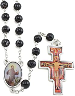 Black Round Rosary Beads with St Francis and a San Damiano Crucifix