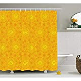 Yeuss Gelber Mandala Duschvorhang, lebendige farbige abstrakte Lotus Blumen Native Kunstwerk warme Sonne inspiriert, Stoff-Badezimmer-Dekor-Set mit Haken, gelb Orange 72'x80'