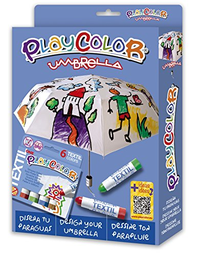 Playcolor – 2-in-1 pak – 1 paraplu, diameter 96 cm + textiel One – 6 kleuren gesorteerd – sterke gouache-kleurpotlood 10 g