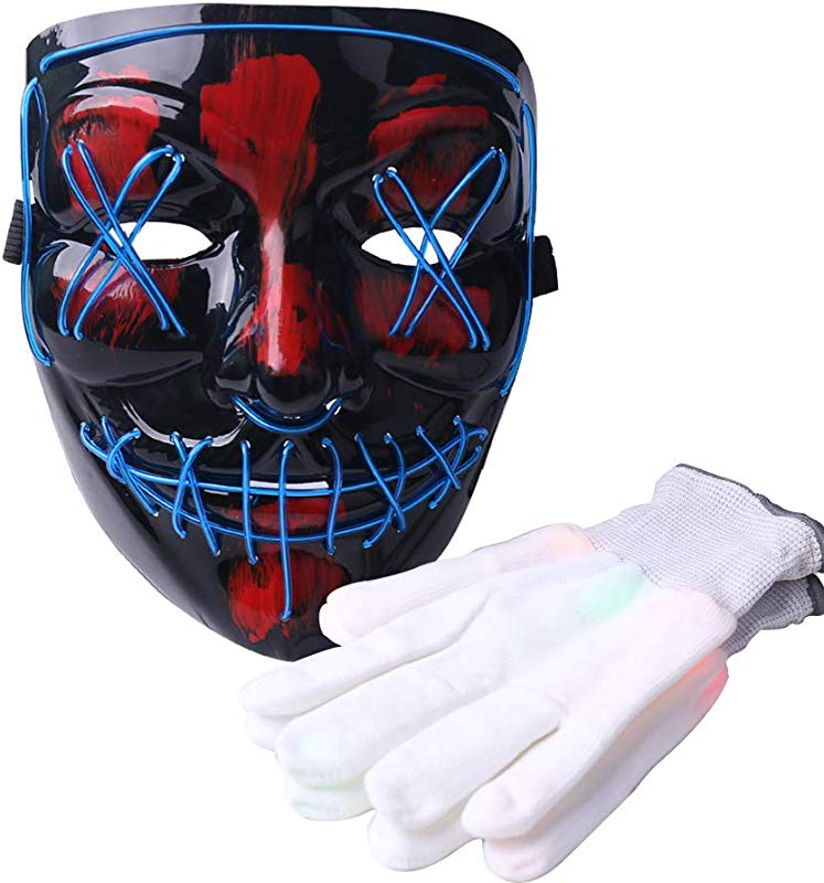 Halloween LED Mask And Gloves Halloween Scary Costumes For Adults Men And Women