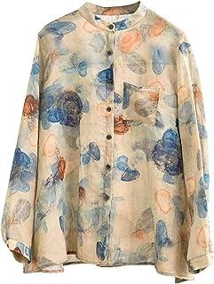 GUOQUN-SHOP Womens Classic Linen Shirt Loose Button Down Blouse Sleeve Cotton Linen Top Pullover Tee