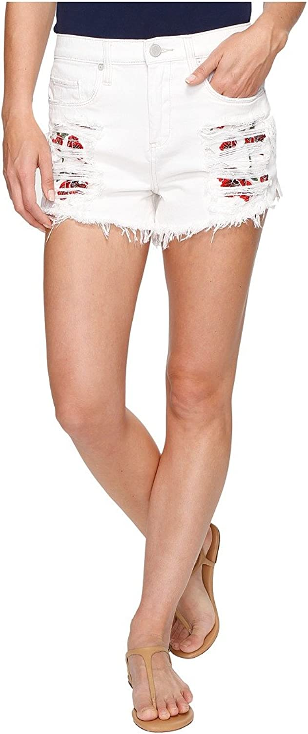 Blank NYC Womens HighRise Shorts with Embroidered Detail in Lightbox White
