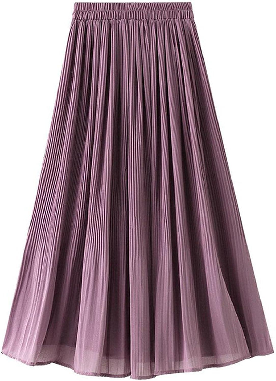 DRGE Women's Chiffon Skirt High Waist Slim Mid-Length A-line Skirt Summer Girl